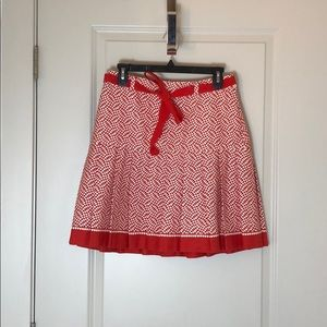 Oscar De La Renta Red and White Pleated Skirt